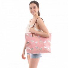 Flamingo Print Canvas Tote Bag