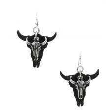 ~ Leather Ox Skull Drop Earrings - Black