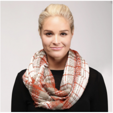 Coral Plaid Infinity Scarf