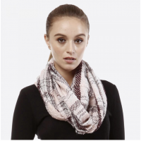 SALE -Frayed Buffalo Plaid Infinity Scarf -Pink