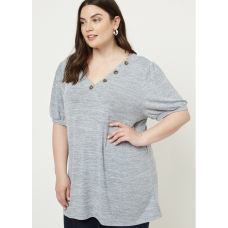 **Plus Heather Grey Button Top