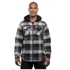 Men's Sherpa Lined Hooded Flannel Jacket - Black/Grey