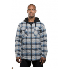 Men's Sherpa Lined Hooded Flannel Jacket - Grey/Blue