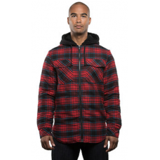 Men's Sherpa Lined Hooded Flannel Jacket - RED