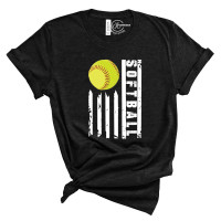 Softball Flag Crew Neck T-Shirt