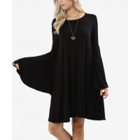 Black Bell-Sleeve Dress