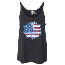 American Flag Sunflower Slouchy Tank
