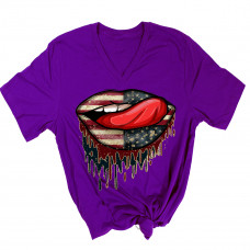 American Patriotic Dripping Lips V-Neck T-Shirt