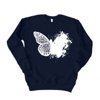 Artistic Lace Butterfly Drop Sleeve Sweatshirt