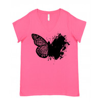 Artistic Lace Butterfly Curvy Collection V-Neck