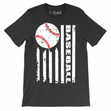 Baseball Flag Crew Neck T-Shirt