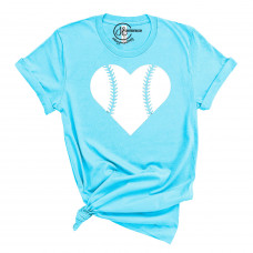 Baseball Heart Crew Neck T-Shirt - Custom Name on Back of Shirt