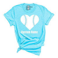 Baseball Heart Crew Neck T-Shirt - Custom Name on Front