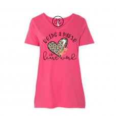 Being a Nurse is Heart Work Curvy Collection V-Neck