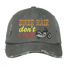 Biker Hair Distressed Embroidered Hat