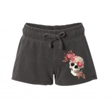 Boho Pink Skull Printed French Terry Shorts
