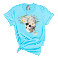 Boho White Skull Crew Neck T-Shirt