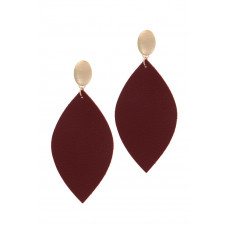**Burgundy Leather Pointed Oval Post Drop Earring