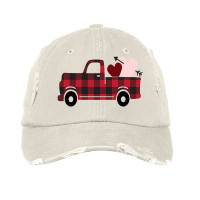 Buffalo Plaid Valentine Distressed Hat