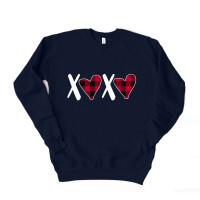 Buffalo Plaid XO Hearts Drop Sleeve Sweatshirt