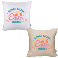 Bunny Kisses Easter Wishes Pillow Cover
