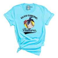 Busy Raising Ballers Crew Neck T-Shirt