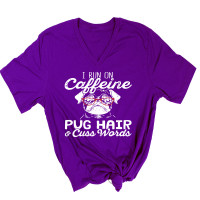 Caffeine and Pug Hair V-Neck T-Shirt
