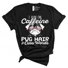 Caffeine and Pug Hair Crew Neck T-Shirt