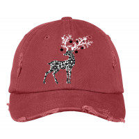 Christmas Deer Distressed Hat