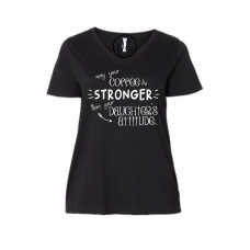 Coffee Stronger Than Your Daughter Curvy Collection V-Neck