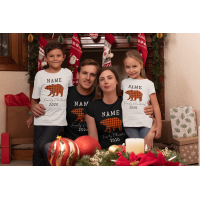 Custom Bear Family Christmas Youth T-Shirt
