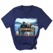 **Custom Couple at the Ocean V-Neck T-Shirt BYOT