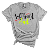 Custom Softball Dad Crew Neck T-Shirt (Front and Back Print)