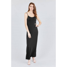 ** Double V-neck Cami Maxi Dress - Black