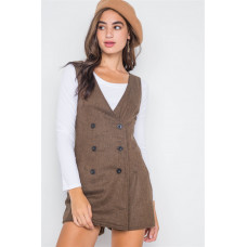 **Double-breasted Sleeveless Skort Romper