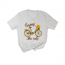 Enjoy The Ride Sunflower Bike V-Neck
