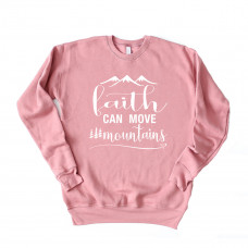 ~SALE~ Faith Can Move Mountains Unisex Drop Sleeve Sweatshirt- Red/XL