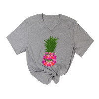 Flower Pineapple V-Neck