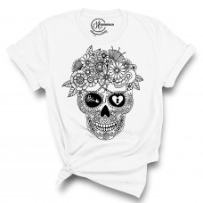 Flower Skull Crew Neck T-Shirt  - Color Your SOUL