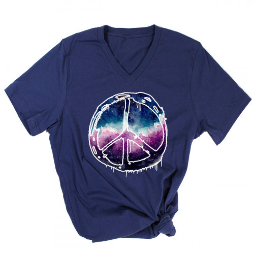 Galactic Peace Sign V-Neck