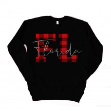 Glitter Plaid States Unisex Drop Sleeve Sweatshirt