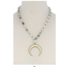 **Mint Crescent Moon Beaded Necklace