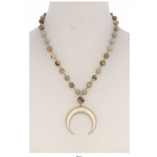 **Brown Crescent Moon Beaded Necklace