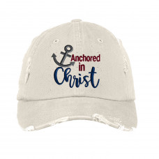 Anchored in Christ Distressed Embroidered Hat