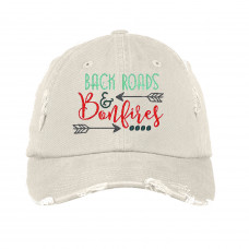 Back Roads and Bonfires Distressed Embroidered Hat