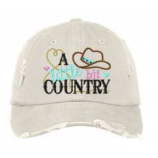 A Little Bit Country Distressed Embroidered Hat