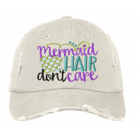 Mermaid Hair Distressed Embroidered Hat