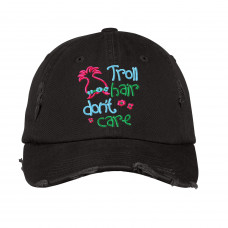 Troll Hair Distressed Embroidered Hat