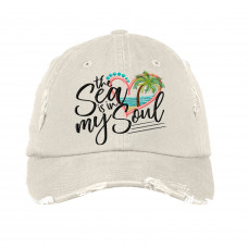The Sea is in My Soul Distressed Embroidered Hat