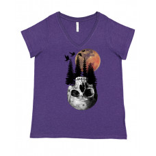 Halloween Night Skull Curvy Collection V-Neck